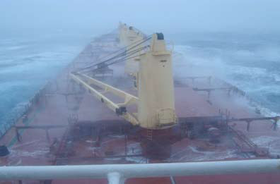 Bulk carrier during heavy weather