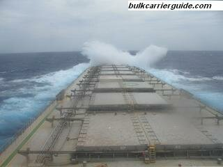 A Bulk carrier encountering head seas