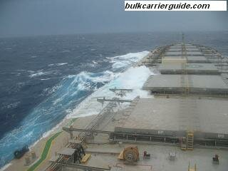 Bulk carrier at rough sea conditions