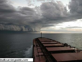 Bulk carrier facing storm at sea