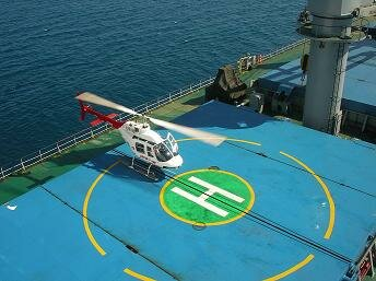 On bulk carrier helicopter landing area