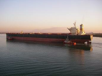 Typical bulk carrier manoeuvering with tug