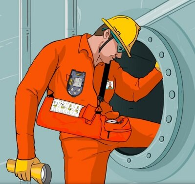 Wearing PPE prior entering Confined space